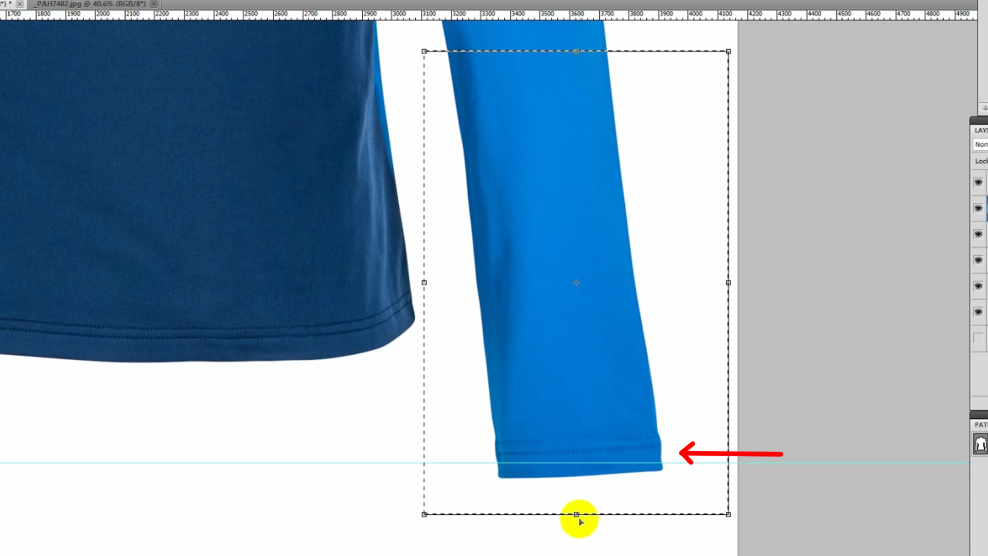 Make alignment the sleeves by Selection tool
