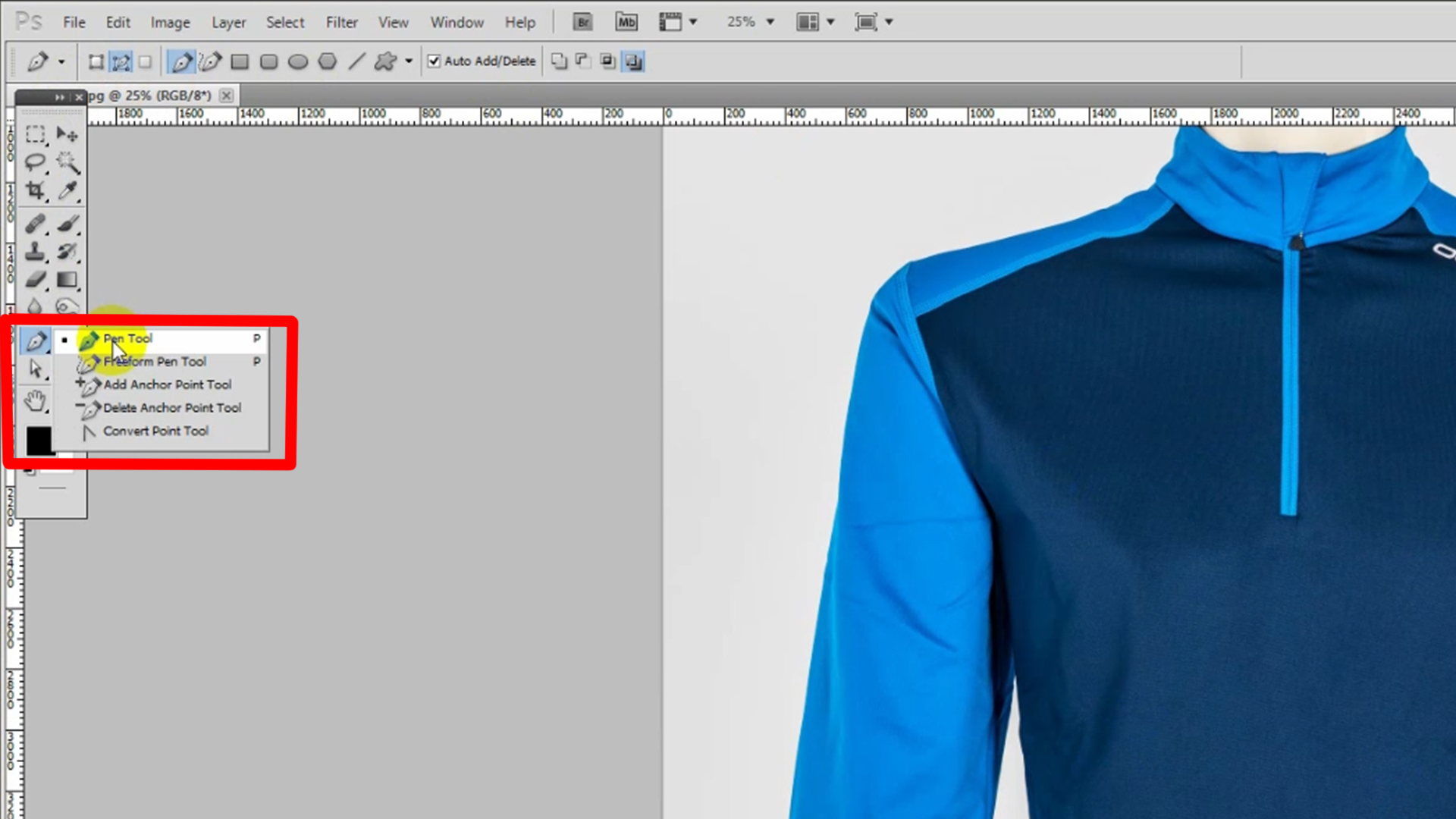 Select Pen Tool from the left toolbar